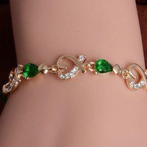 ❤️gorgeous natural emerald heart 18K gold bracelet